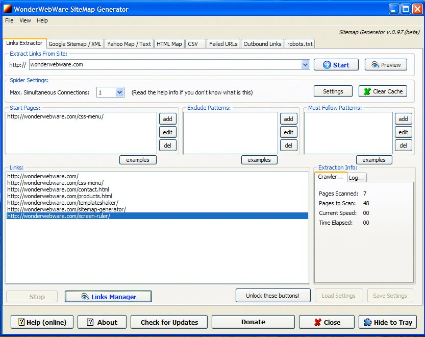 Click to view SiteMap Generator 0.94.01 screenshot