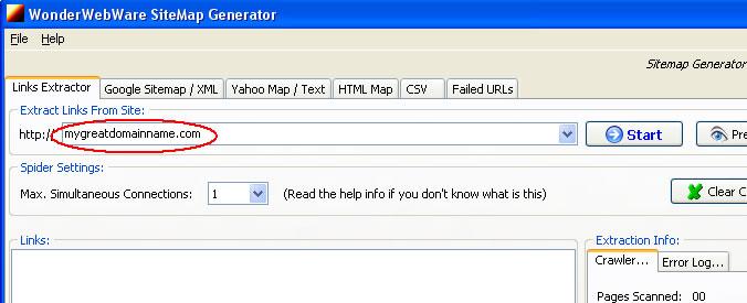 sitemap generator step 1