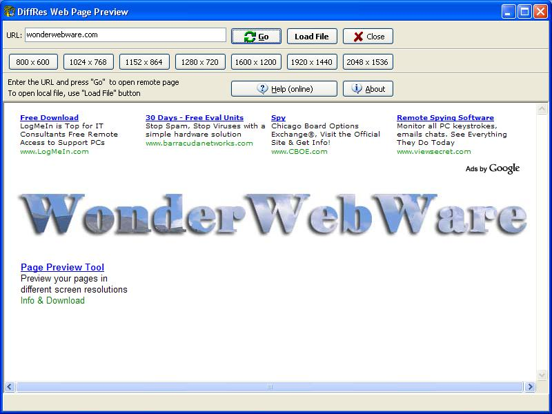 Click to view DiffRes Web Page Preview 1.0 screenshot